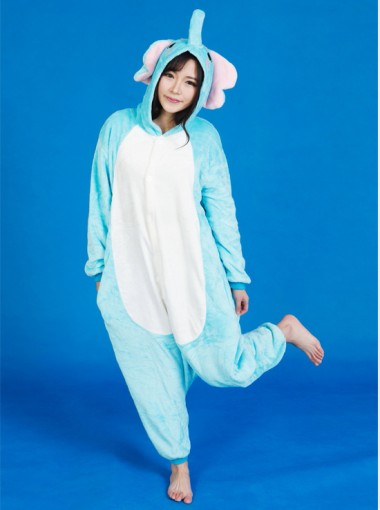 New Style Flannel Women Blue Elephants One-piece Women Pajamas