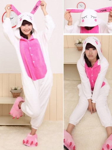 Fashion Flannel One-piece White Rabbit Women Pajamas Sleepwear