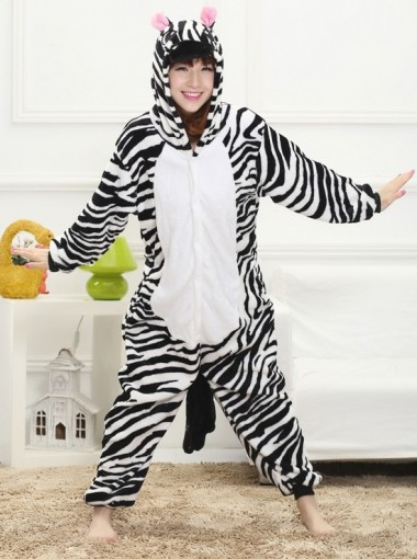 Fashion Flannel One-piece Zebra-stripe Women Pajamas
