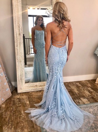 Mermaid Criss-Cross Straps Sweep Train Light Blue Tulle Prom Party Dress with Appliques