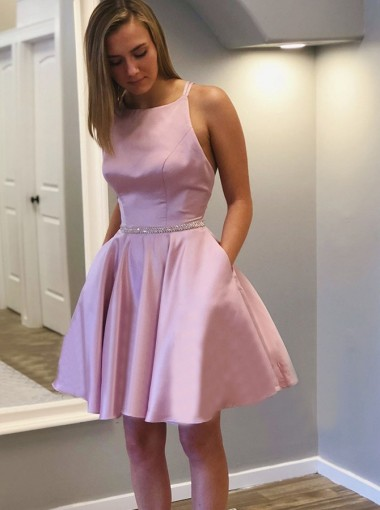 A-line Round Neck Sleeveless Criss-Cross Straps Short Homecoming Dress with Beadings