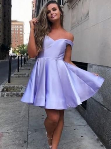 A-line Off Shoulder Lilac Short Satin Homecoming Dress