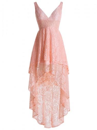 A-Line V-Neck Zipper-Up High Low Pink Lace Dress