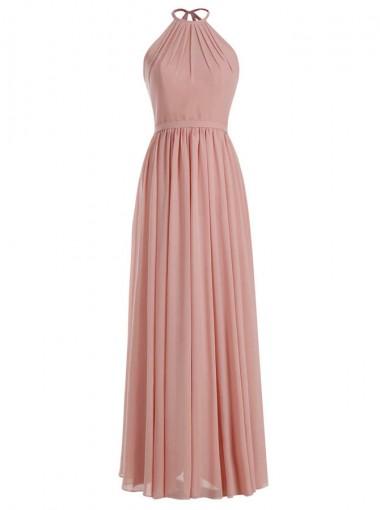 A-Line Round Neck Floor-Length Blush Chiffon Dress with Sash