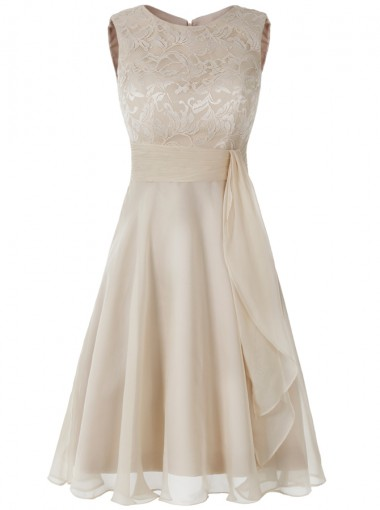 A-Line Bateau Short Light Champagne Chiffon Dress with Lace Ruffle