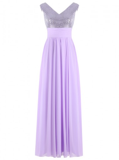 A-Line V-Neck Floor-Length Lavender Chiffon Dress with Sequins