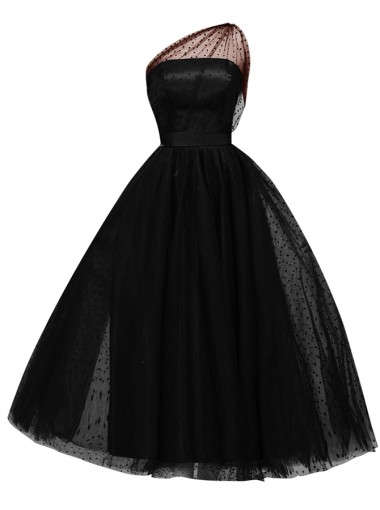 A-Line One Shoulder Sleeveless Mid-Calf Black Lace Dress