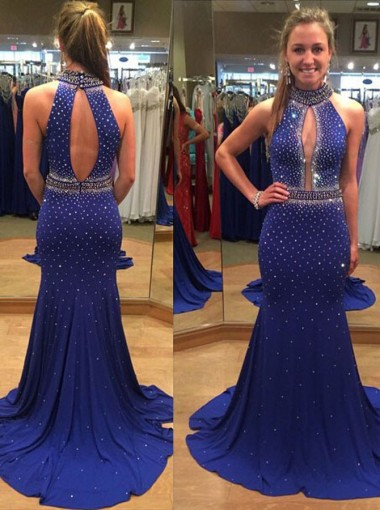 Sexy Mermaid Prom Dress Party Dress with Train  - Sequins High Neck Open Back