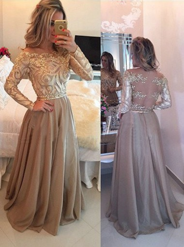 A-Line Crew Floor-Length Long Sleeves Gold Chiffon Prom Dress with Appliques Beading