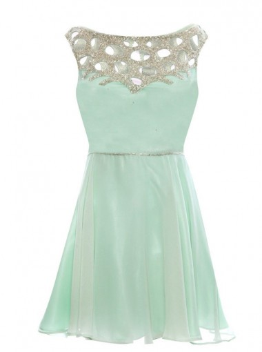 A-Line Bateau Sleeveless Short Mint Chiffon Prom Dress with Beading