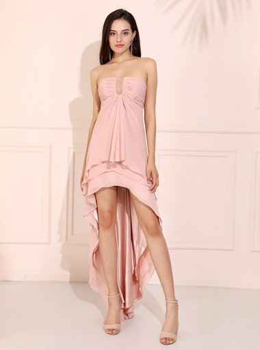 High Low Strapless Pink Chiffon Bridesmaid Dress with Ruffles