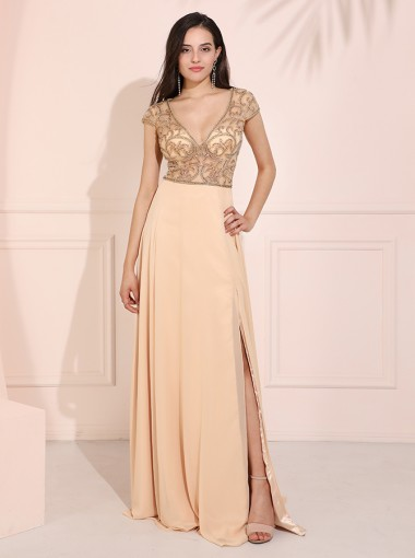 Deep V-Neck Cap Sleeves Long Prom Dress Champagne Evening Dress
