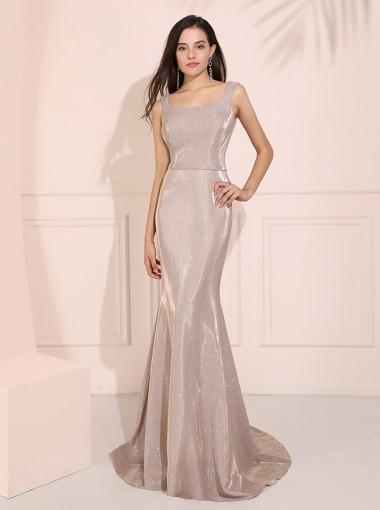 Mermaid Square Neck Long Prom Dress Sparkle Evening Dress