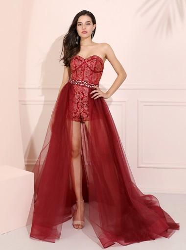 Detachable Sweetheart Long Prom Dress Dark Red Sexy Evening Dress
