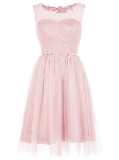 A-Line Bateau Short Pink Tulle Dress with Appliques Sequins