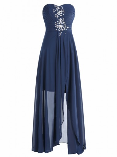 A-Line Sweetheart Floor-Length Dark Blue Chiffon Dress with Beading