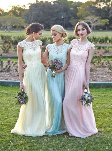 New Arrival Free Custom Cap Sleeve Long Lace Bridesmaid Dress