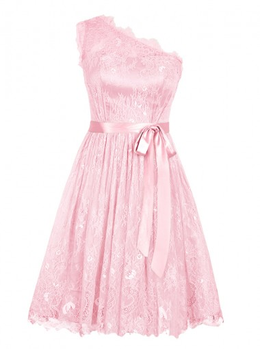 A-Line One-Shoulder Short Pink Lace Dress with Sash