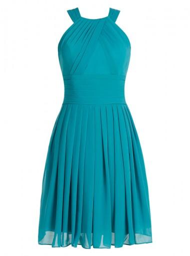 A-Line Round Neck Keyhole Back Short Turquoise Chiffon Dress