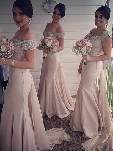 Elegant Beading Off-shoulder Mermaid Long Bridesmaid Dress