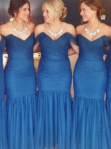 Mermaid Bridesmaid Dress - Royal Blue Off-the-Shoulder Floor Length Ruffles