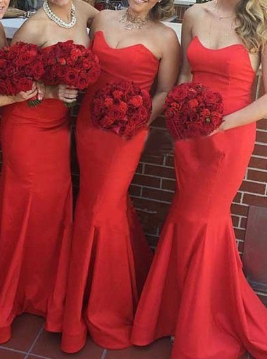 Charming Mermaid Sweetheart Floor Length Red Bridesmaid Dress