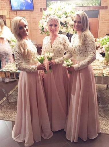 Charming Sheath V-Neck Floor Length Pink Long Sleeves Bridesmaid Dress with Appliques