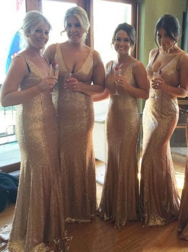 Sheath V-Neck Sweep Train Champagne Sequined Bridesmaid Dress