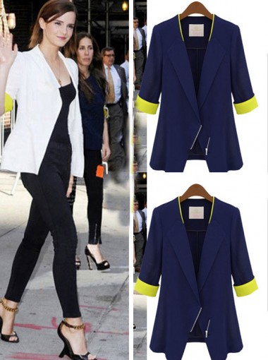 Fashion White Patchwork Slim Short Women's Blazer