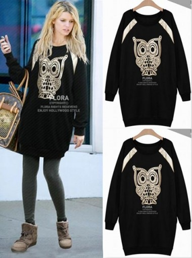 Cute Black Long Sleeves Round Print of Owl Women Hoodies