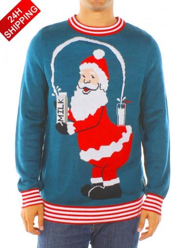 Men's Blue Long Sleeves Santa Christmas Sweater