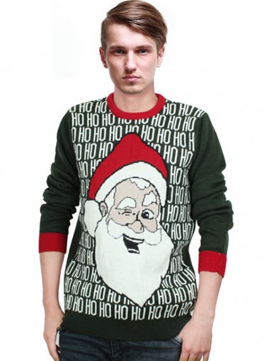 Men's One-size Hunter Long Sleeves Santa Christmas Sweaters