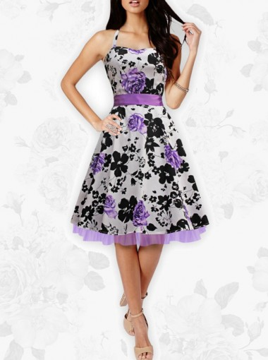 Black & Purple Foral Butterfly 'Rhya' Vintage Serenity 50's Rockabilly Dress
