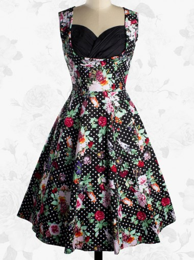 Vintage Sweetheart 50s Sleeveless Flower Pattern Ball Gown Dress For Women