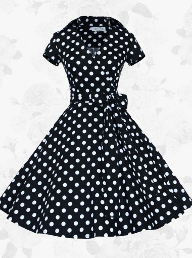 Women's Retro Short Sleeves Polka Dots 50s 60s Black Rockabilly Pinup Swing Dress