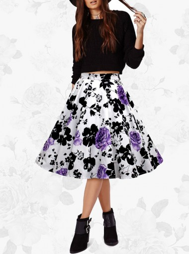 1950s Vintage Empire Print Skirt Dress