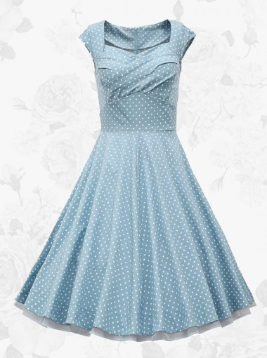 Blue Vintage Square Neck White Polka Dots Waist Slim Women Swing Dress