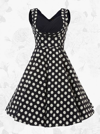 Black Vintage Square Neck A-line 50s White Polka Dots Party Swing Dress