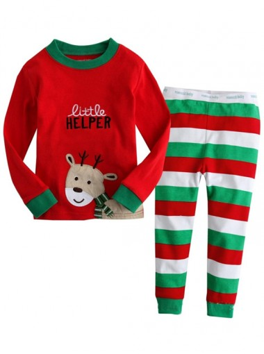 Fashion Two-pieces Red Print Deer Girls Charistmas Pajamas