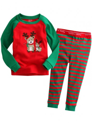 Cute Red & Green Stripe Deer Print Children Christmas Pajamas