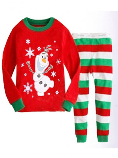 Cute Children Snowman Print Red Two-pieces Pajamas Sleepwear