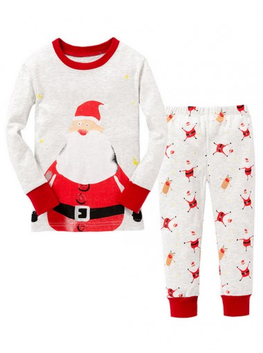 Lovely White With Red Santa Claus Print Children Pajamas Sleepwear