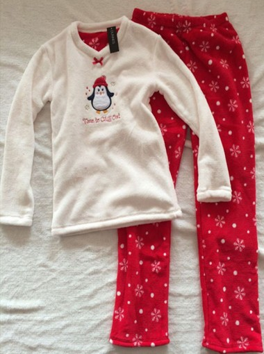 Cute Children White Tops & Red Bottom With Snowflake Print Two-pieces Pajamas