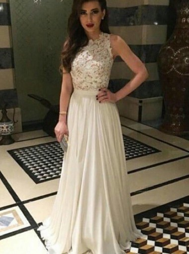A-Line Jewel Sweep Train Sleeveless Ivory Chiffon Prom Dress with Appliques