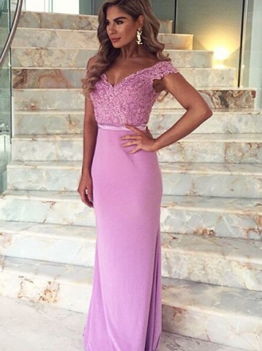 Mermaid Off-the-Shoulder Sweep Train Lilac Stretch Satin Prom Dress with Appliques Lace
