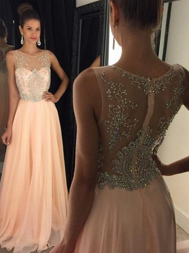 Elegant A-Line Crew Neck Floor-Length Chiffon Pink Prom Dress Evening Gowns With Beading