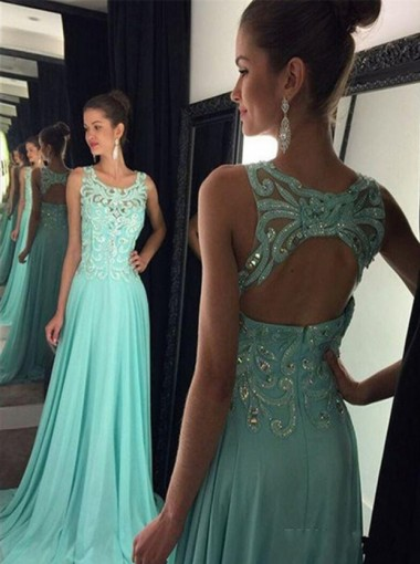Sexy A-Line Square Neck Sweep Train Green Prom Dress/Evening Dress with Appliques