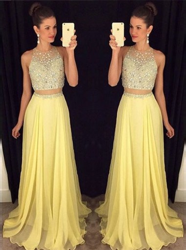 Two Piece Prom Dress/Evening Dress - Yellow A-Line Crew Neck Sweep Train Beading