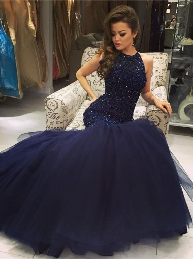 Sexy navy-blue mermaid scoop sleeveless beading prom dress