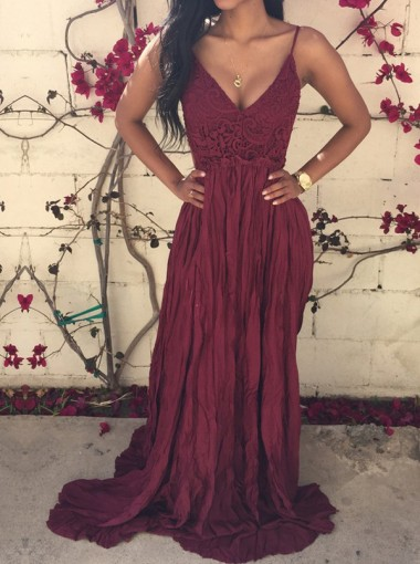 Sexy V-neck dark-red backless lace spaghetti-straps prom dress with sweep train